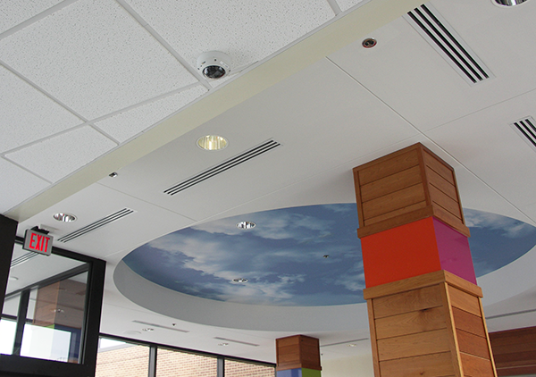 Indoor ceiling surveillance camera.