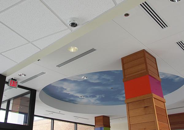 Indoor ceiling surveillance camera.